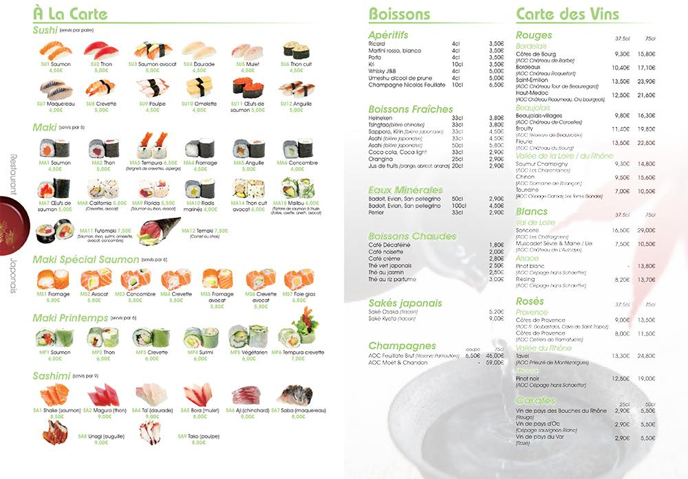 Carte Restaurant Japonais